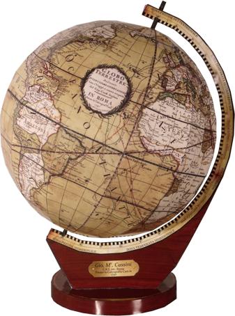 paper globe, Cassini's terrestrial globe
